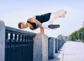 Young man break dancer — Stock Photo