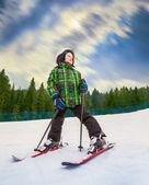 Little skier in mountain sky resort — Foto Stock