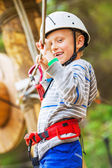 Little boy on the rope track — Stock Photo