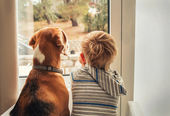 Little boy with best friend — Stock Photo