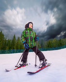 Little skier in mountain sky resort — Photo