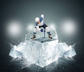 Hockey player with ice cubes — Stok fotoğraf