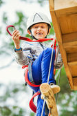 Boy on the rope track — Stock Photo
