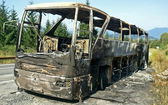 Combusted bus — Stock Photo