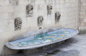 Fountain near Notre Dame cathedral in Luxembourg — Stock Photo