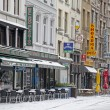 Foto Stock: Snowy terrace in Antwerp