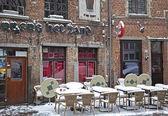 Snowy terrace in Antwerp — Stock Photo