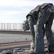 Statue on Afsluitdijk - major causeway in Netherlands — Stock Photo