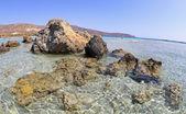Ondiepe heldere zee op elafonisi, kreta — Stockfoto