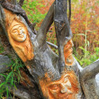 Hand carved wood face - High Tatras, Slovakia — Stock Photo