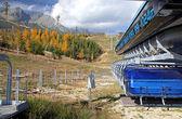Blue cableway in Tatranska Lomnica - High Tatras, Slovakia — Stock Photo