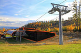 Orange cableway (Modern cableway in Tatranska Lomnica - High Tat — Stock Photo