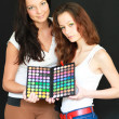 Two girls with make-up palette — Foto Stock