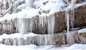 Icicles on rock at Low Tatras, Slovakia — Stockfoto