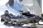 Snowmobile in front of modern cableway FUNITEL - Low Tatras, Sl — Stock Photo