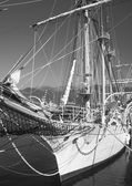 Navio no porto na cidade tivat, montenegro — Fotografia Stock