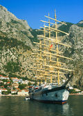 Sailboat at the bay of Kotor - Boka Kotorska, Montenegro — Stock Photo