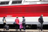 Train and passengers — Stok fotoğraf