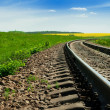 A railway in the field turns upright — Stock Photo