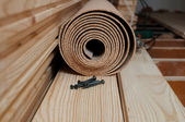 Preparing for an installation of the floor battens — Stock Photo