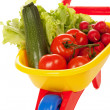 Wheelbarrow with vegetables — Stock Photo