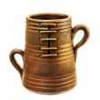Ceramic mug with two handles. - Stock Photo