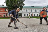 Joust on the territory of the monastery. — Stock Photo