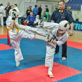 Competition on kyokushinkai karate. — Stock Photo