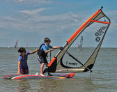 Windsurfing and kitesurfing on the Dolzhanka, Krasnodar region,  — ストック写真