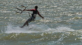 Windsurfing and kitesurfing on the Dolzhanka, Krasnodar region,  — Stok fotoğraf