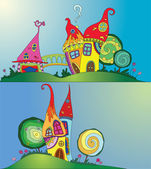 Magical houses — Stock Vector