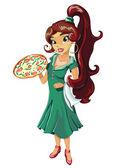 Italian girl with pizza — Stock Photo
