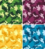 Colorful Camouflage Seamless Patterns — Stock Vector