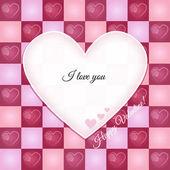 Valentine Retro Greeting Card with Heart Pattern — Wektor stockowy
