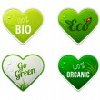 Royalty-Free Stock Vector Image: Set of bio, eco, organic heart sticker elements