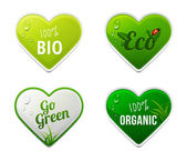 Set of bio, eco, organic heart sticker elements — Stock Vector