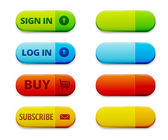 Set of colorful log in, signu in and subscription buttons — Stock Vector