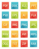 Long Shadow Flat Icons for File Formats — Stock Vector