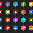 Flat Social Media Icons for Dark Background — Stock Vector