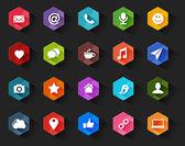 Flat Social Media Icons for Dark Background — Stock Vector