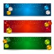 Horizontal Polygon Christmas Banners — Stock Vector