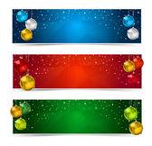 Horizontal Polygon Christmas Banners — Stock Vector