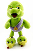 Plush toy, dragon green on a white background — ストック写真