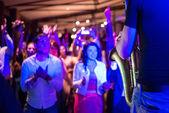 Saxophonist delighting public — Stock Photo