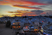 White town sunset — Stock Photo
