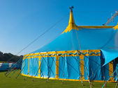Sideview of a blue and yellow big top circus tent — Stock Photo