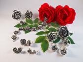 Collection of silver rose jewelry — Stock Photo