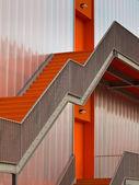 Orange escape stairs — Stock Photo