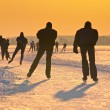 Stock Photo: Skaters during sunset