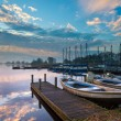 Recreational harbor at a lake — Stock Photo